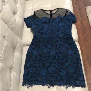 Blue Lace with Black Veil Dress size M